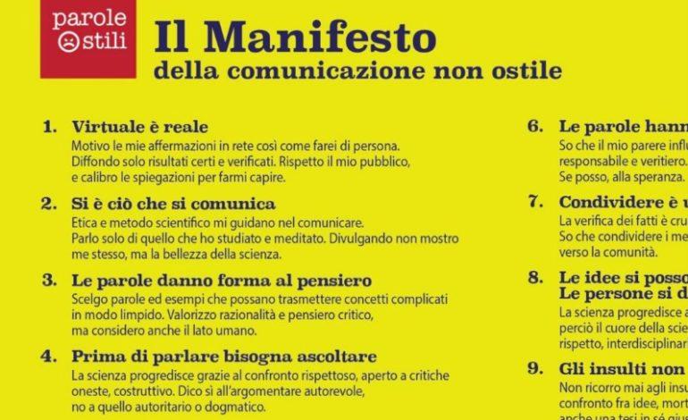"""""""Manifesto della comunicazione non ostile"""" per ripartire dalle piccole comunità"""