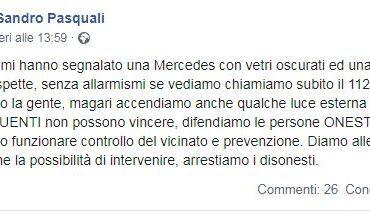 Furti a Passignano, la segnalazione del sindaco Pasquali